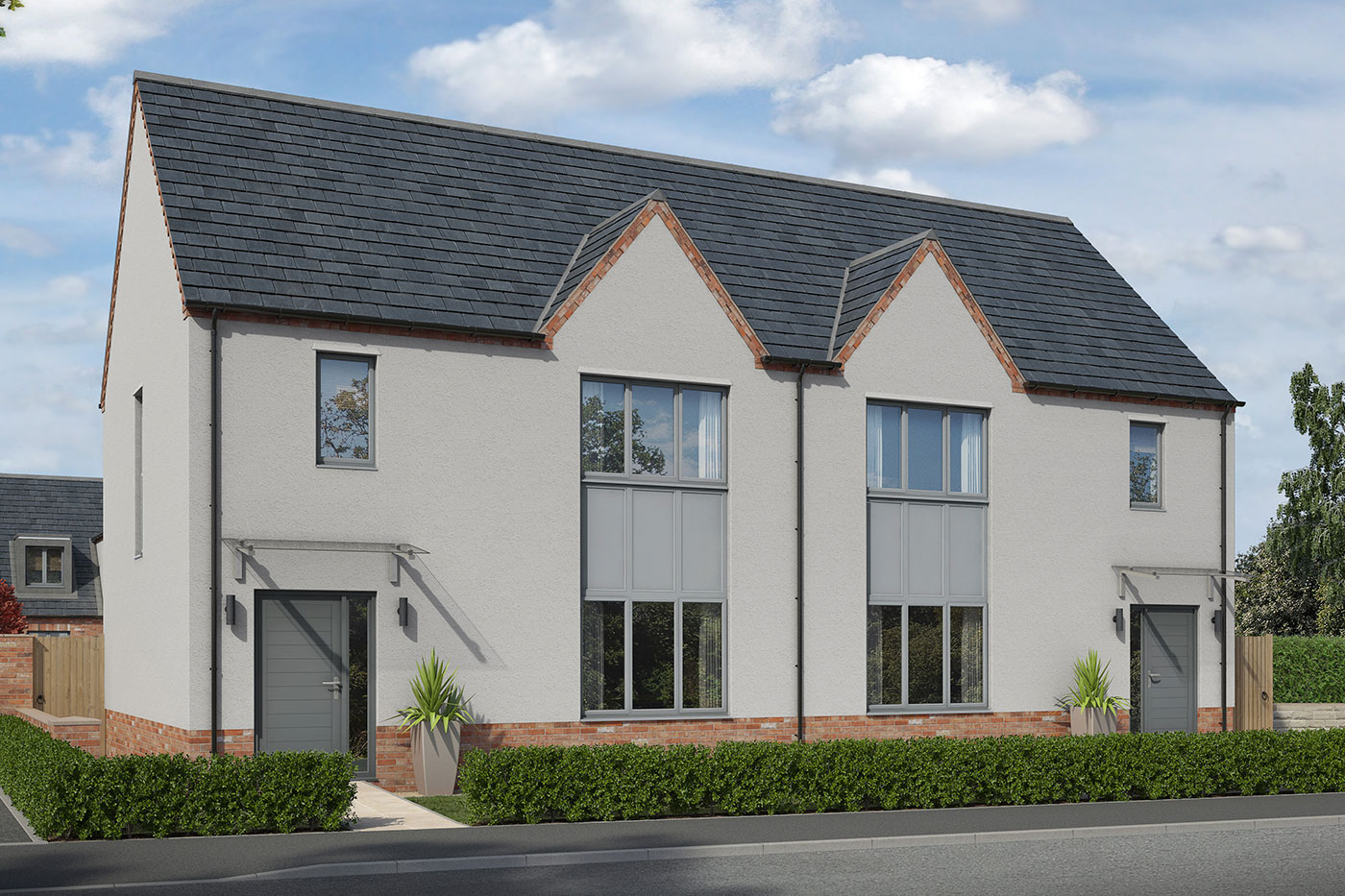 A CGI of two semi-detached new homes
